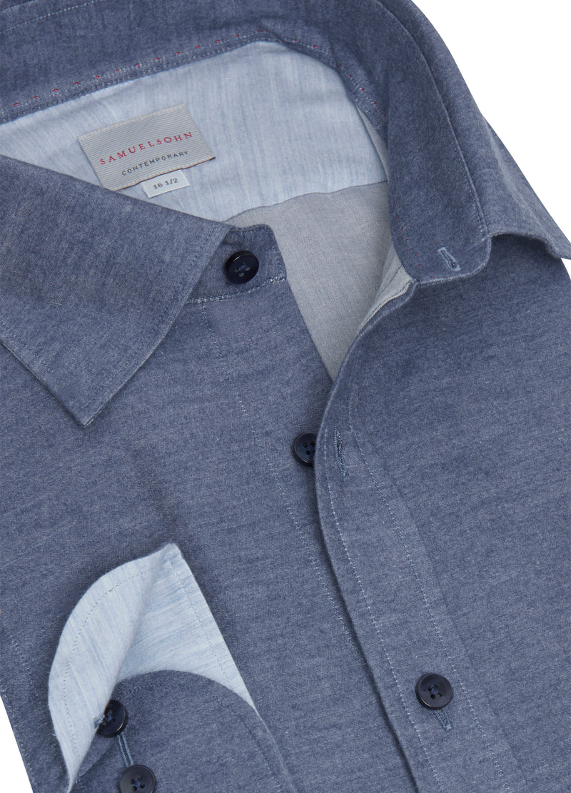 Navy Soft Hidden Button-Down Shirt