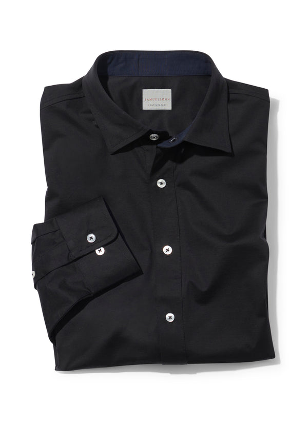 Black Comfort Jersey Knit Shirt