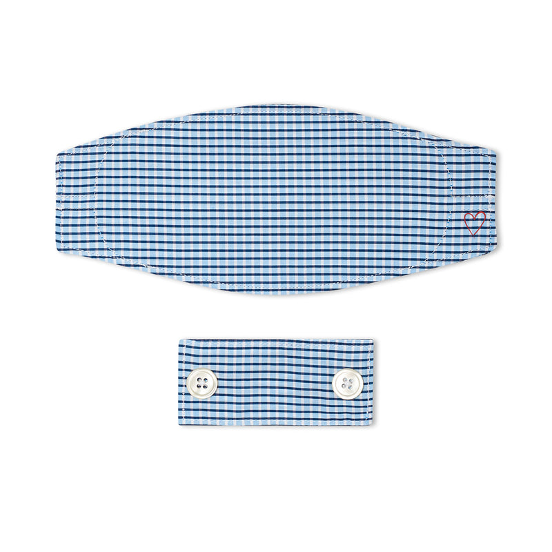 Stretch Blue and White Check Mask