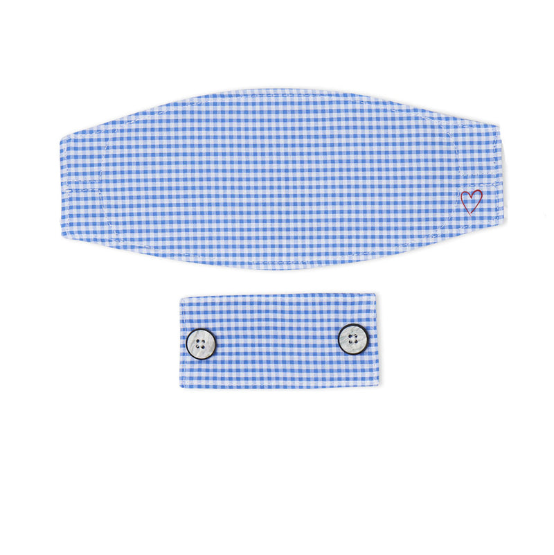 Blue Gingham Seersucker Mask