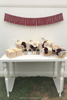 burgundy gold burlap popcorn bar