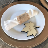 gold brown white Thanksgiving table setting