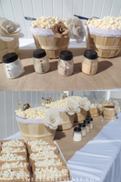 burlap flowers lace lined popcorn baskets with scoops