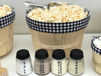 gingham plaid popcorn bar with flavor shakers