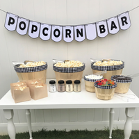 popcorn bar black white gingham plaid party in a box