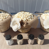 rustic wedding burlap flower popcorn bar