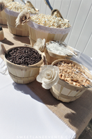 popcorn topping wood baskets with plastic tongs