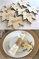 Wood Leaf Engraved Place Cards UN-Finished