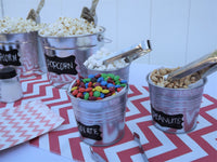 popcorn metal pail topping buckets chalkboard labels