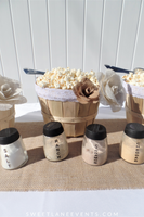 Popcorn Bar | Lace & Burlap Flowers | Party in a Box