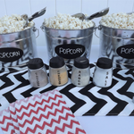 red white black popcorn bar