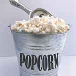 Metal Popcorn Bucket and Scoop, personalized engraved stainless steel scoop, popcorn labeled bucket, movie popcorn night, popcorn gift idea
