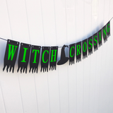 green black witch hat banner