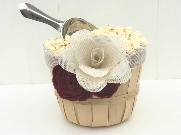 Burgundy White Flower Snack Baskets & Engraved Scoops