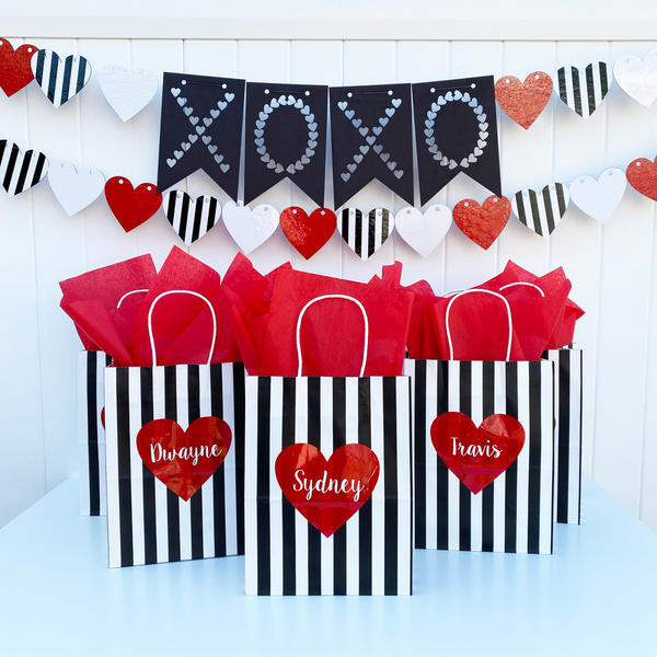 Heart XOXO Party in a Box, banner with gift bags