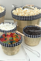popcorn bar topping baskets with clear plastic tongs
