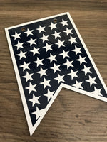 navy blue background with white stars
