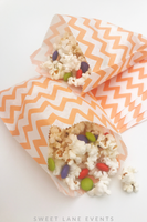 orange white popcorn treat bags