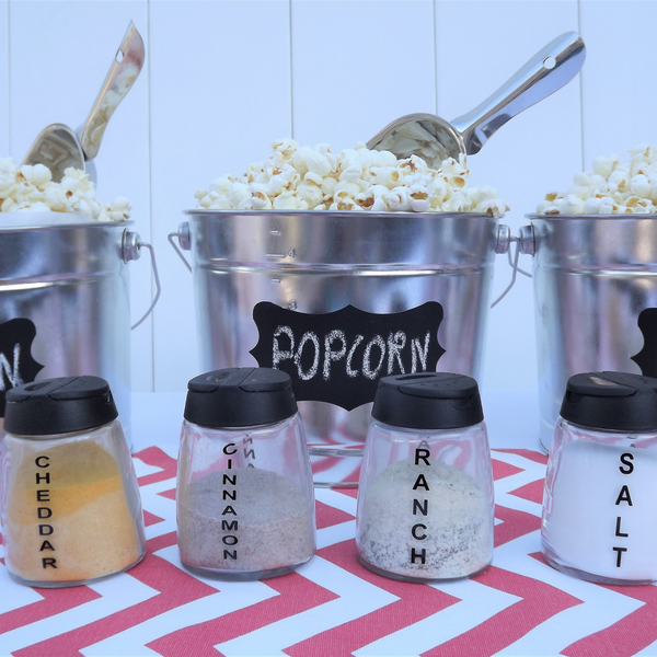 coral chevron popcorn bar party in a box