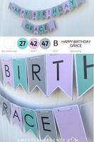 purple teal gray birthday banner