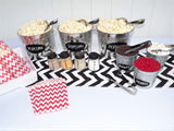 red white black chevron popcorn bar