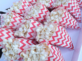 popcorn in red white chevron paper popcorn bags