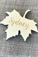 unfinished wood engraved laser cut leaf