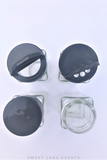 spice jar plastic black tops
