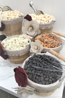burlap lined candy topping baskets