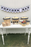 Popcorn Bar Black & White Gingham Party in a Box