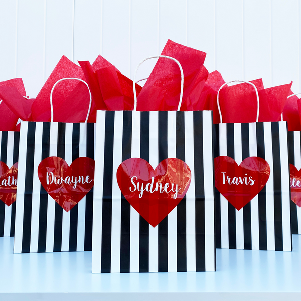 black white striped heart gift bags