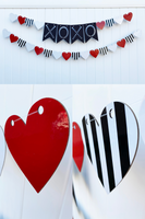 red white black striped heart garland