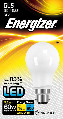 Energizer 9W (60W) LED Standard Shape Bulb GLS BC B22  - Warm White - Dimmable