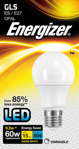 Energizer 9W (60W) LED Standard Shape Bulb GLS ES E27 - Warm White - Dimmable