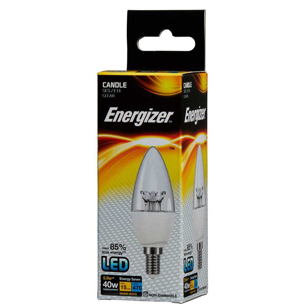 Energizer LED Candle Light Bulb 6 watt equals 40 watt SES Screw Box