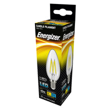 Load image into Gallery viewer, Energizer box LED filament candle clear glass, 40w E14 small screw base