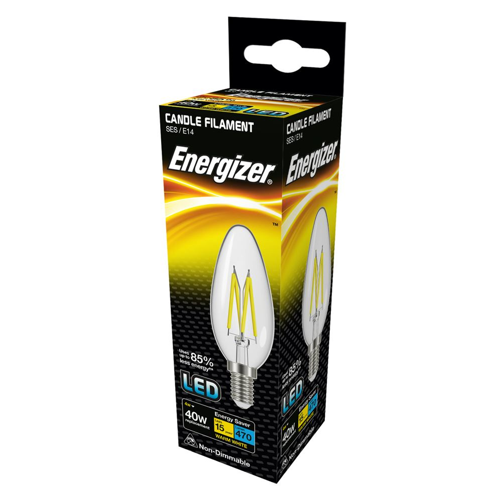 Energizer box LED filament candle clear glass, 40w E14 small screw base