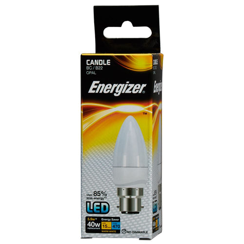 Energizer LED Candle Light Bulb 6 watt equals 40 watt BC Bayonet box