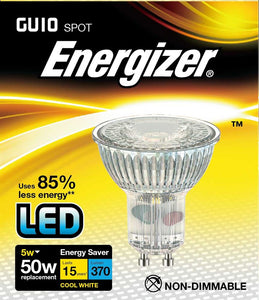 Energizer LED GU10 5 Watt 50 Watt Equivalent glass cool white