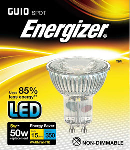 Energizer LED GU10 5 Watt 50 Watt Equivalent glass warm white