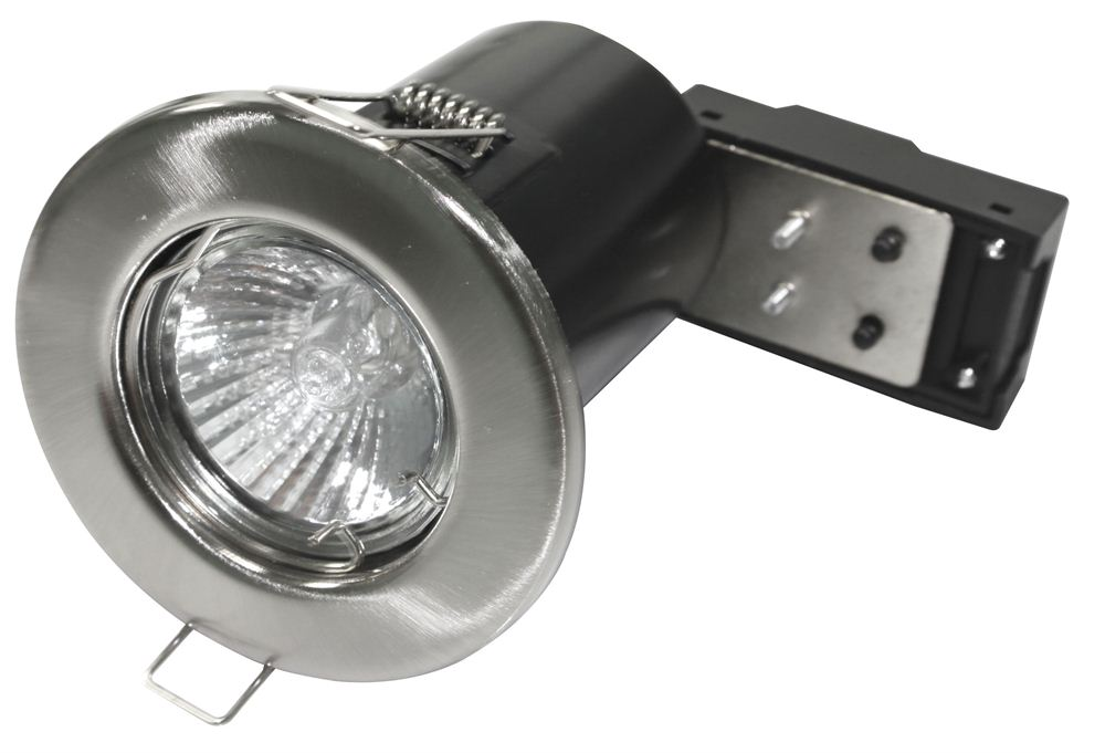 Powermaster Brushed Chrome Fire Rated Fixed Downlight GU10
