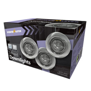 Powermaster Brushed Chrome Downlight GU10 3 Pack