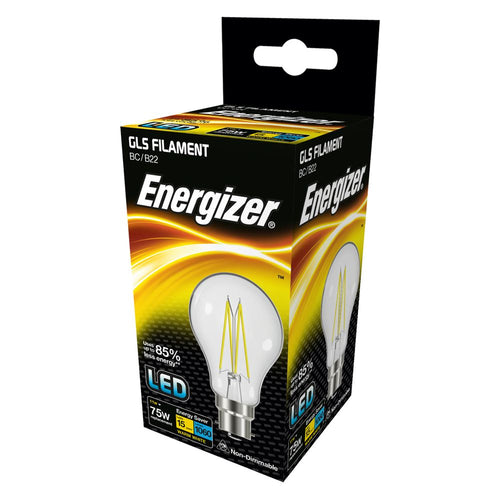 Energizer LED Filament 11 Watt 75 Watt Equivalent BC glass light bulb box.
