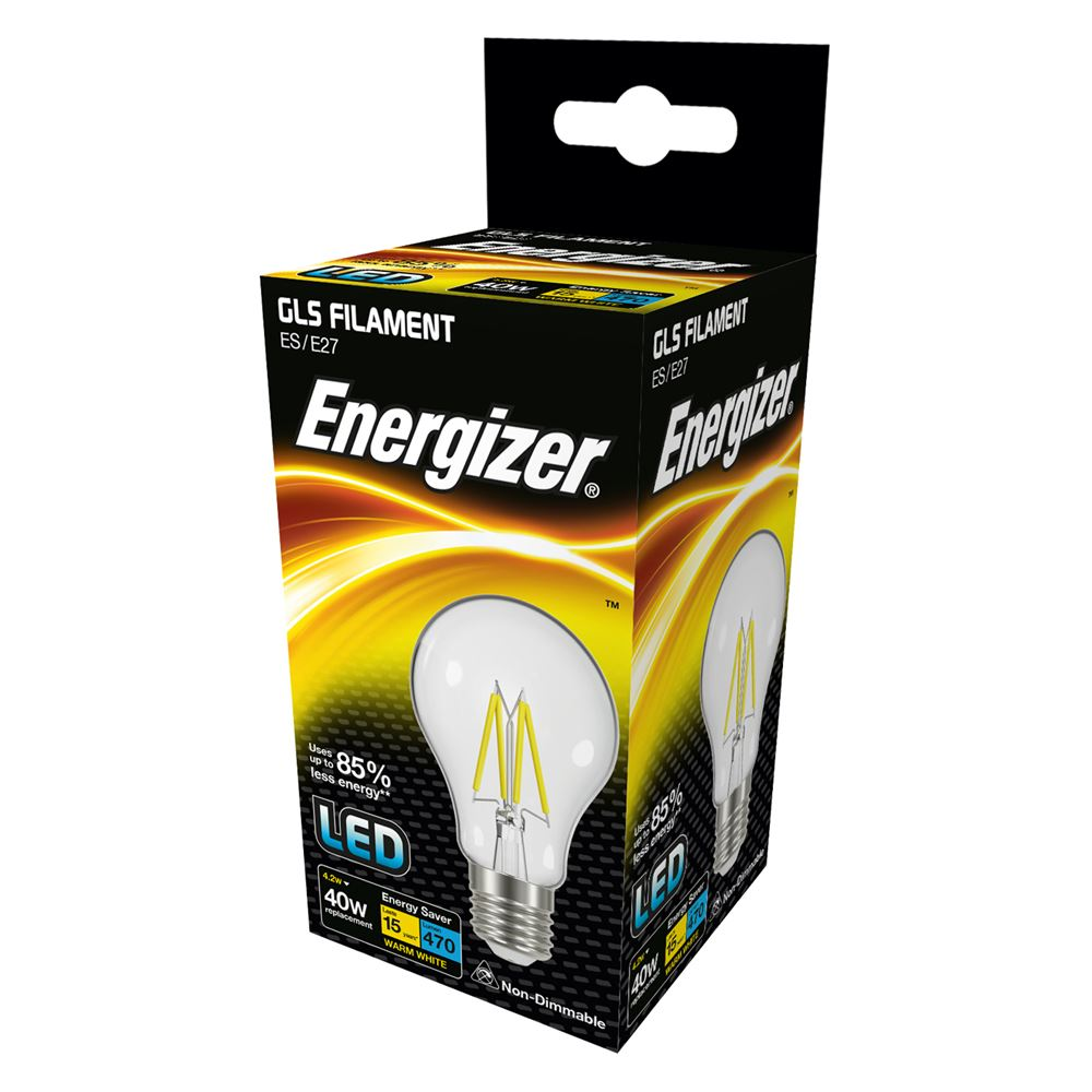 Energizer LED Filament 4 Watt 40 Watt Equivalent ES glass light bulb box.