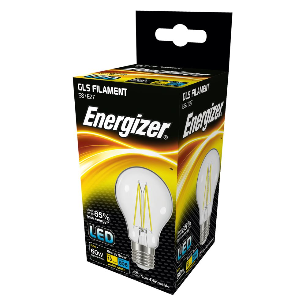 Energizer LED Filament 6 Watt 60 Watt Equivalent ES glass light bulb box.