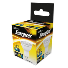 Load image into Gallery viewer, Energizer dimmable LED GU10 5 Watt 50 Watt Equivalent white plastic warm