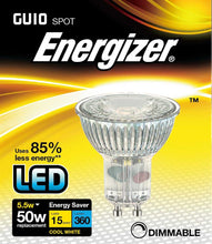 Load image into Gallery viewer, Energizer Dimmable LED GU10 6 Watt 50 Watt Equivalent glass cool