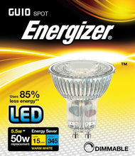 Load image into Gallery viewer, Energizer Dimmable LED GU10 6 Watt 50 Watt Equivalent glass warm