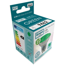 Load image into Gallery viewer, Crompton LED GU10 Green Light Bulb 4.5w (50w)