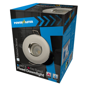 Powermaster IP65 Polished Chrome Fire Rated Fixed Downlight GU10